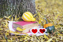 Reading and drinking coffee in the autumn park. Book with reading glasses ans yellow pumpkin in the autumn park stock photos
