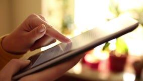 Reading e-book stock video