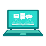 Reading e-books. Online learning. Open book paper with speech clouds on the laptop. Flat design. Stock Photography