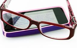 Reading E-Mail With Glasses Royalty Free Stock Photo