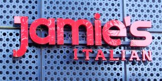 Jamie's Italian Sign stock image