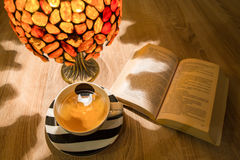 Reading in the evening with some tea.  royalty free stock photo