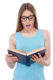 Reading an exciting book. Royalty Free Stock Images