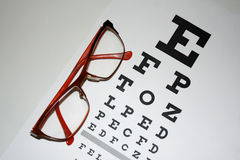 Reading - eyeglasses and eye chart close-up on a light backgroun Royalty Free Stock Photo