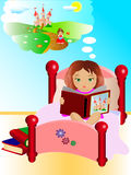 Reading and fantasy. Illustration of a girl reading a tale Stock Photography
