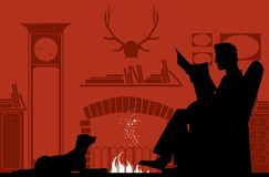 Reading by the fireplace. Silhouettes of a reading man by fireplace and a dog Stock Images