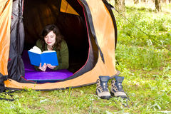 Reading in the forest Stock Images
