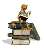 Reading Gecko. A cartoon gecko is reading while sitting on a stack of books royalty free illustration