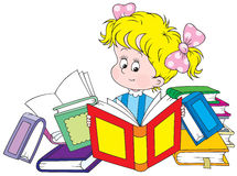 Reading girl. Vector clip-art of a little girl reading books Royalty Free Stock Photo