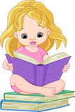 Reading girl. Illustration of a little girl reading a book Royalty Free Stock Images