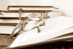Reading Glasses on Book Royalty Free Stock Photo
