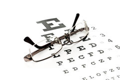 Reading glasses with eye chart Royalty Free Stock Photography