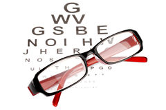 Reading glasses with eye chart Royalty Free Stock Photo
