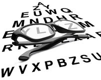 Reading glasses with eye chart Stock Image