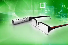 Reading glasses with eye chart Royalty Free Stock Images
