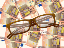 Reading glasses on fifty euro background. Reading glasses on fifty euros background Royalty Free Stock Photography