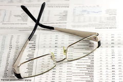 Reading Glasses Newspaper Financial stock image