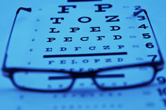 Reading glasses on top of an eye chart Royalty Free Stock Photos