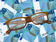 Reading glasses on twenty euro background Royalty Free Stock Image