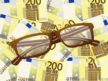 Reading glasses on two hundred euro background Stock Images
