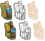 Reading With Granddad Royalty Free Stock Images