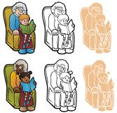 Reading With Granma Stock Images