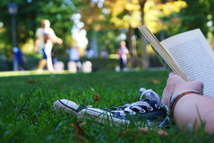 Reading on grass Royalty Free Stock Photos