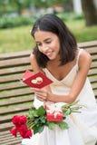 Reading greeting card Royalty Free Stock Photos