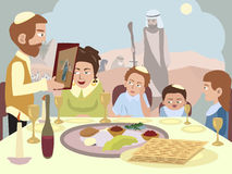 Reading the Haggadah at the Seder table Royalty Free Stock Photography