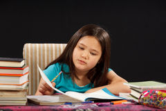 Reading Homework. Young girl reading her homework Stock Photos