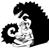 Reading a horror story. Young girl seated on the floor with book is reading a horror story. Her very shadow on the wall is shaped like a scary dragon like Stock Image