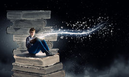 Reading and imagination Royalty Free Stock Photo