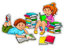 Reading kids. Two kids reading quietly with stacks of books around them Stock Photos