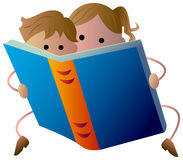 Reading kids. Illustrated reading kids with isolated white background Stock Photos