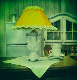 Reading lamps, ceramics, photo in old image style. Stock Photos