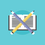 Reading and learning process flat icon illustration Stock Photos