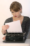 Reading letter on typewriter Royalty Free Stock Photography