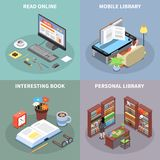 Reading And Library Concept Icons Set vector illustration