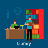 Reading in library illustration Stock Image