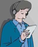 Reading listening. Man reading and listening simultaneously stock illustration