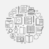 Reading or literature circular illustration. Vector round symbol made with book icons in thin line style Stock Photography