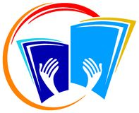 Reading logo. Isolated line art reading logo design Royalty Free Stock Photo