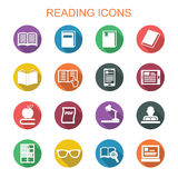Reading long shadow icons Stock Images
