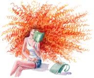 Reading a magazine Stock Image