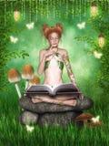 While reading a magic book Stock Photo
