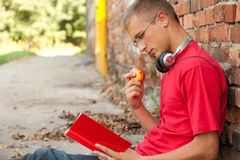 Reading male student. Leaning on the bricks wall Stock Photo