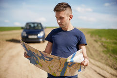 Reading the Map - Stock Image Royalty Free Stock Image