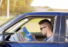 Reading the Map - Stock Image Royalty Free Stock Photo