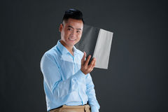 Reading modern magazine Royalty Free Stock Image