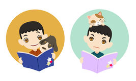 Reading with my pet, cartoon vector illustration. Boy is reading with his cute pet, cartoon vector illustration Royalty Free Stock Image